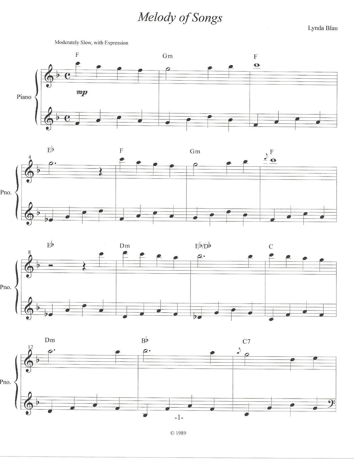 Melody Of Songs Sheet Music Songs Piano Sheet Music [ 1600 x 1234 Pixel ]