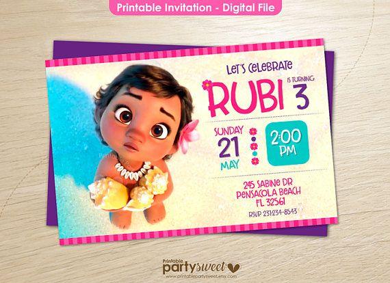 Baby Moana Invitation Printable Party Supplies Birthday