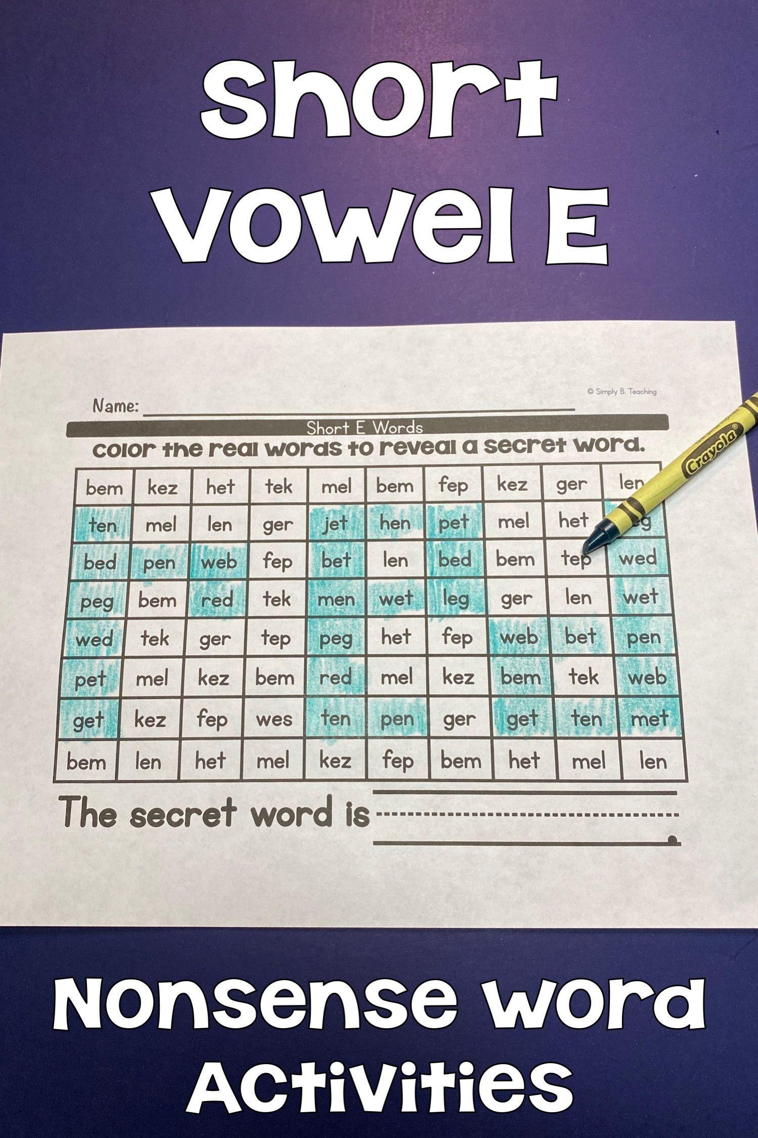 Short Vowel E Worksheets In
