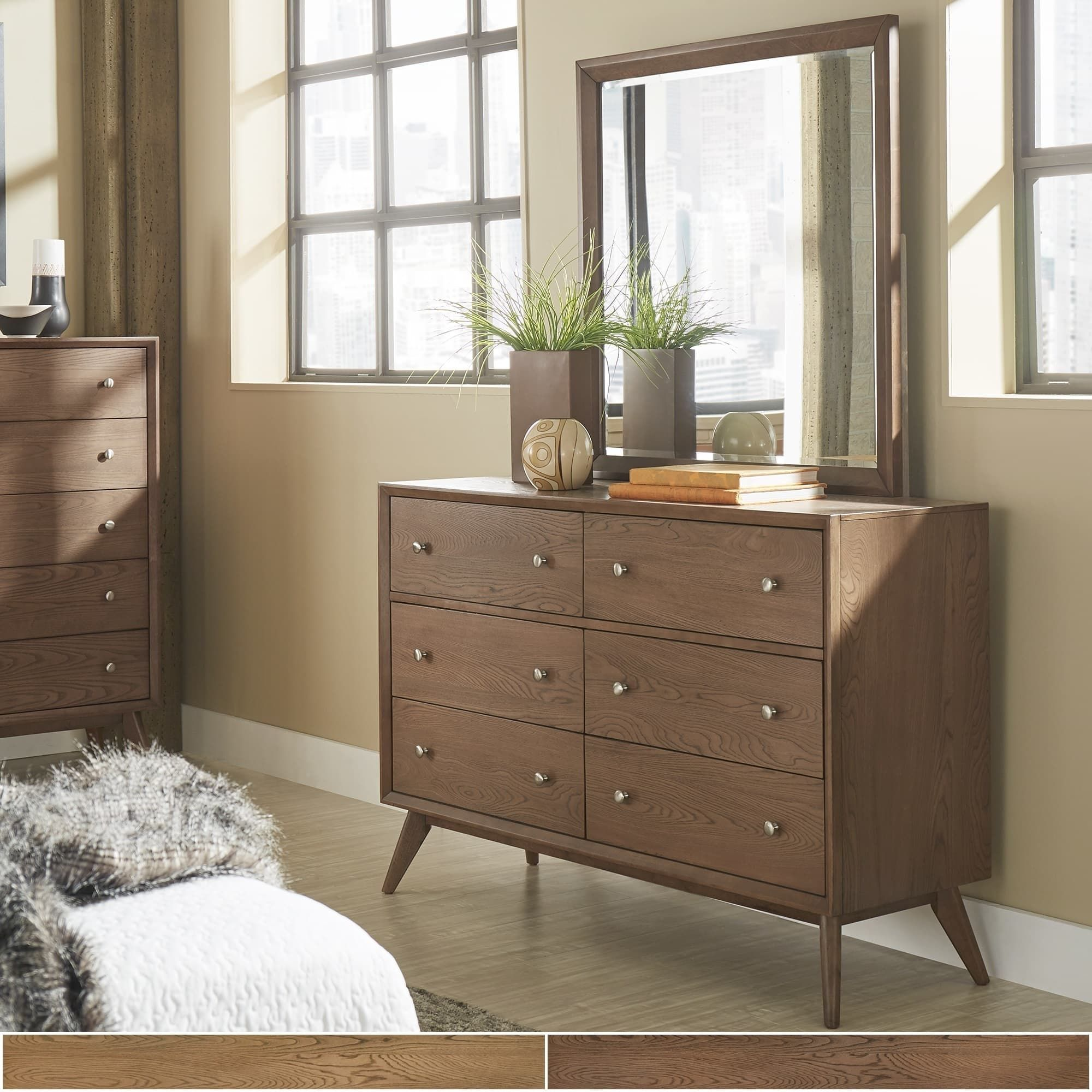 Sylvia Mid Century Wood Dresser And Mirror By Inspire Q