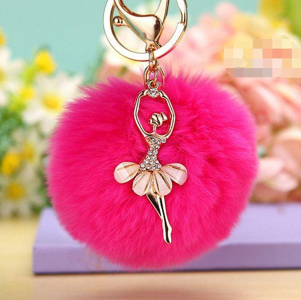 87648cbf56 New rabbit fur ball keychain Bag Pendant Fur Ball Plush Ballet Girl ...