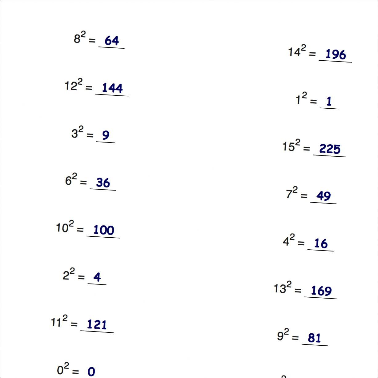 Math Worksheets Simple Exponents And Powers Of Ten