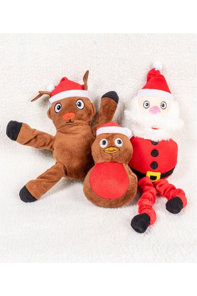 Set Of 3 Christmas Pet Toys By Pet Brands Christmas Animals Pet