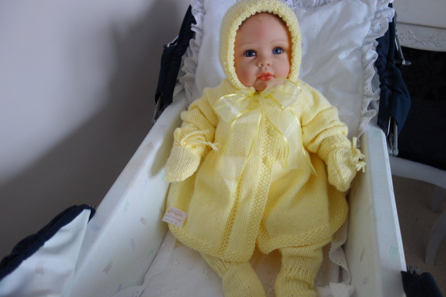 21fe1023082e Hand knitted traditional pram set in lemon. Double breasted matinee ...