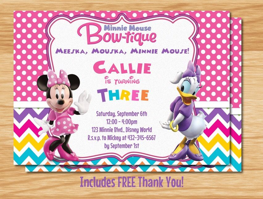 Minnie Mouse Bowtique Invitation Pink Aqua Lime Green Minnie – Minnie Invitations for Birthdays