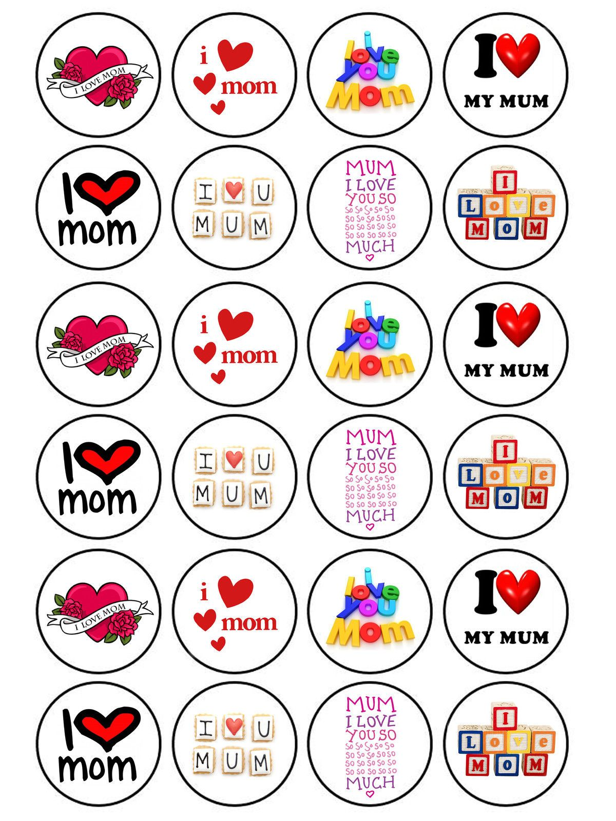 24 X Edible Mothers Day I Love Mum Mummy Birthday Muffin Cake Cupcake Toppers Ebay Muffin Cake Cupcake Toppers My Love