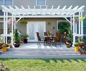 Better Builder's Deck        Here, a basic builder's deck with few details is transformed into a stunning and inviting outdoor living space with just a few affordable upgrades.