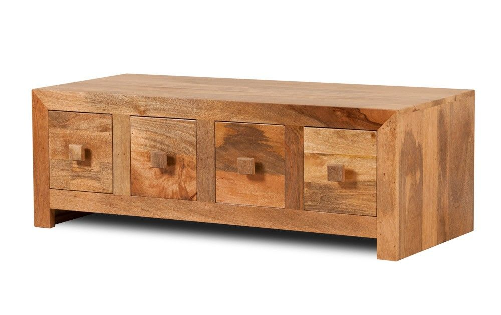 Satara Natural Mango 8 Drawer Coffee Table