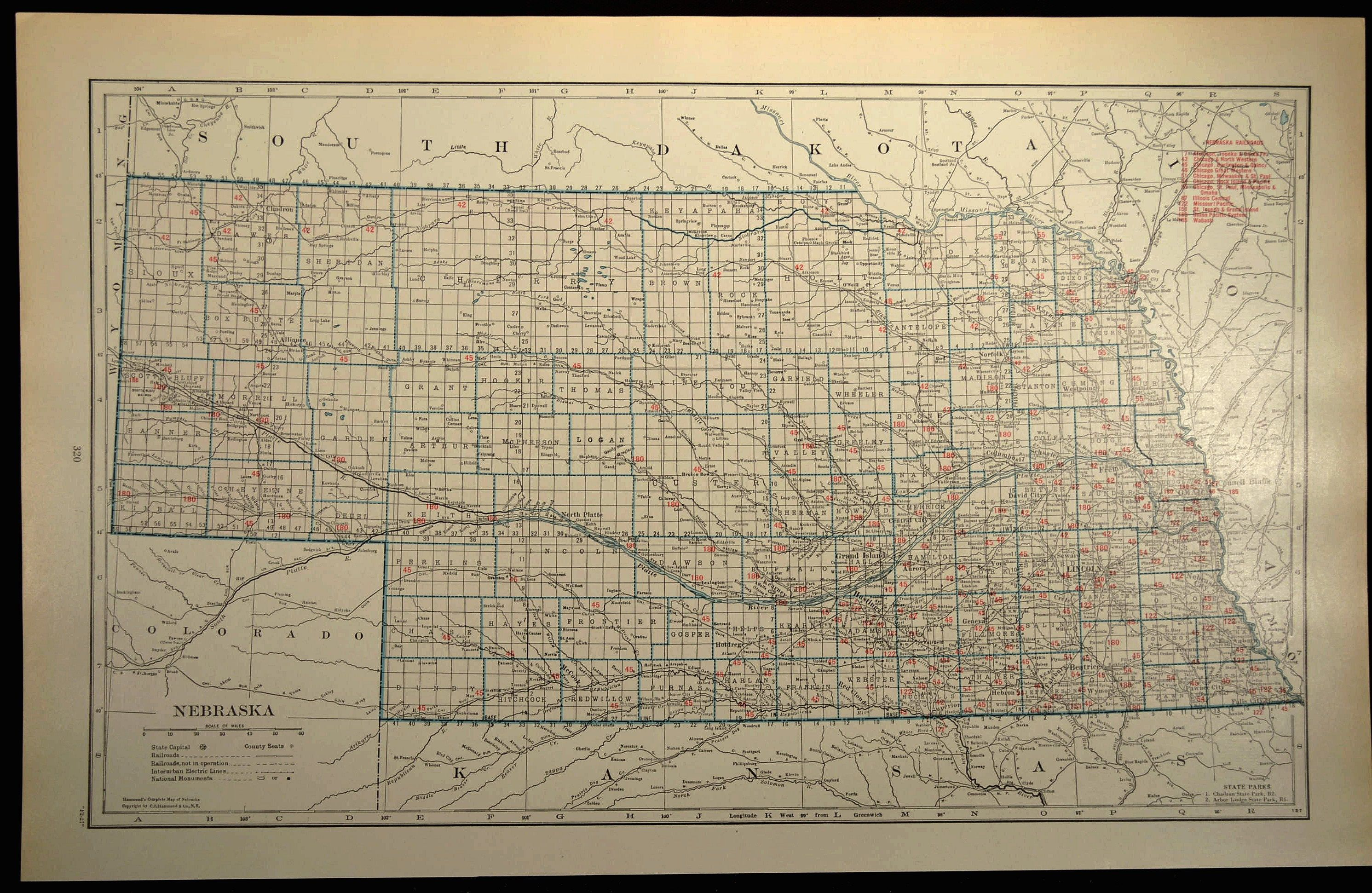 Nebraska Map Of Nebraska Wall Decor Art Railroad Map Large Etsy Architectural Prints Map Vintage Maps