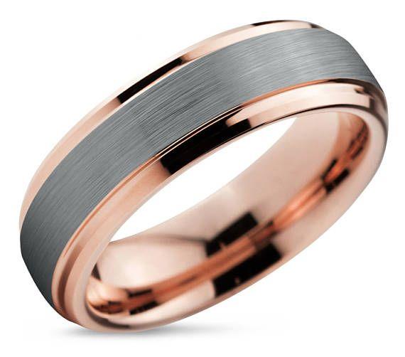 Rose Gold Wedding Band Brushed Silver Wedding Ring Tungsten Etsy Rose Gold Mens Wedding Band Silver Wedding Bands Mens Wedding Rings