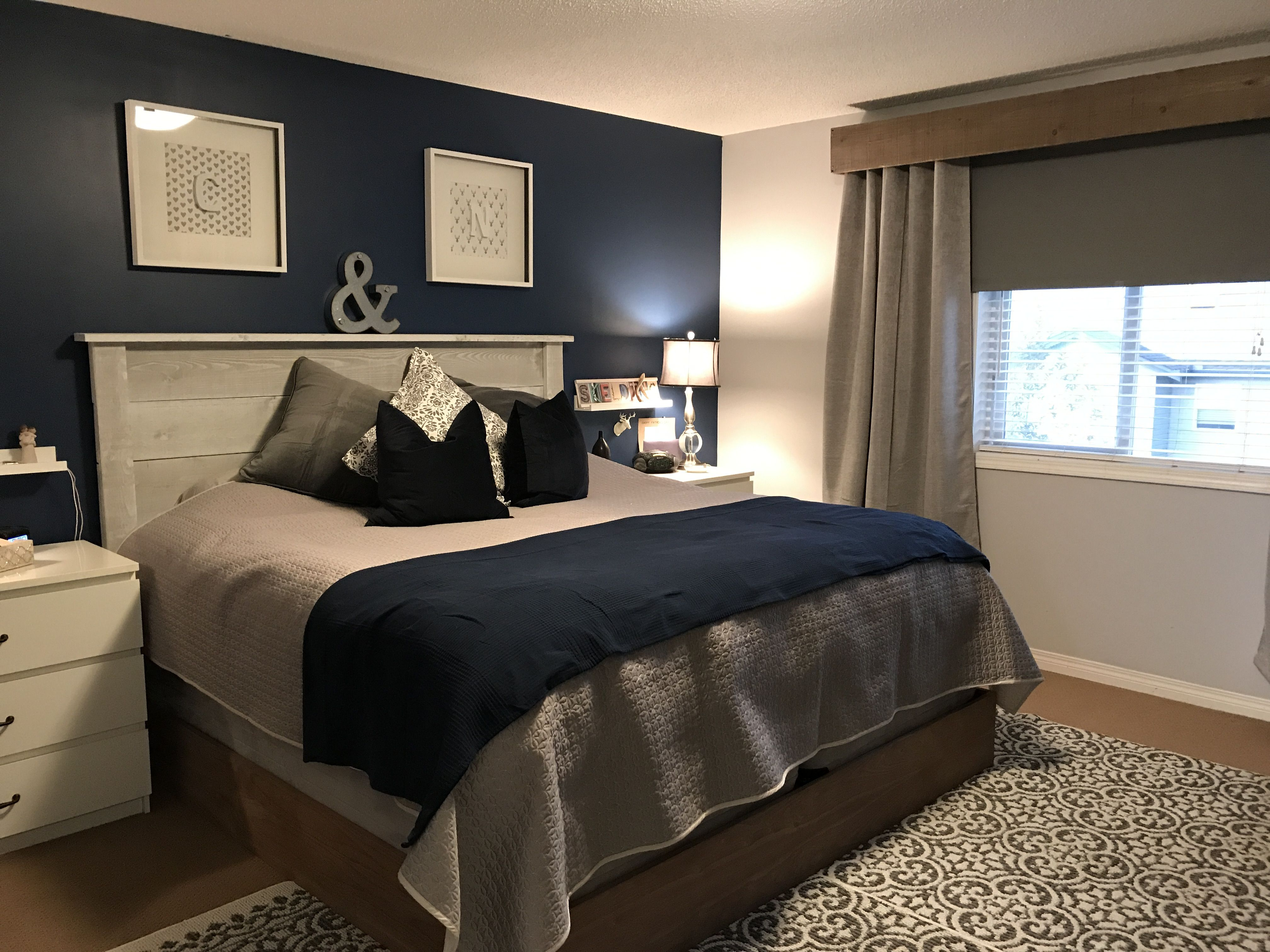 Navy Blue Feature Wall Master Bedroom Makeover And Loving It Master Bedroom Colors Master Bedroom Color Schemes Blue Master Bedroom