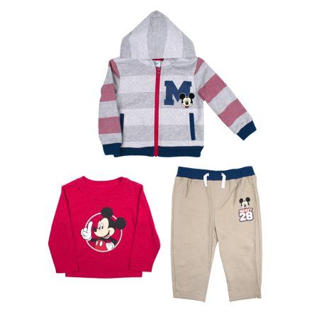 3pc Kid Baby Boy Girl Mickey Hoodie Coat+T shirt+Pants Outfit Casual Clothes Set