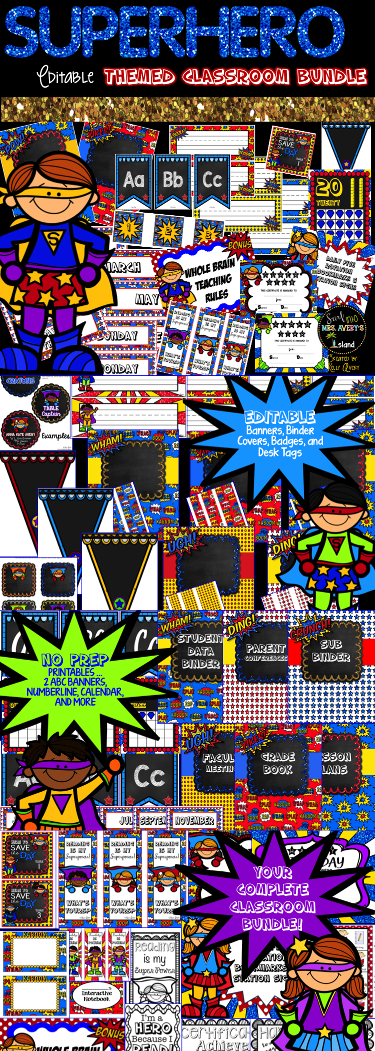 Classroom Decor Bundles ~ This superhero classroom bundle is full of editable
