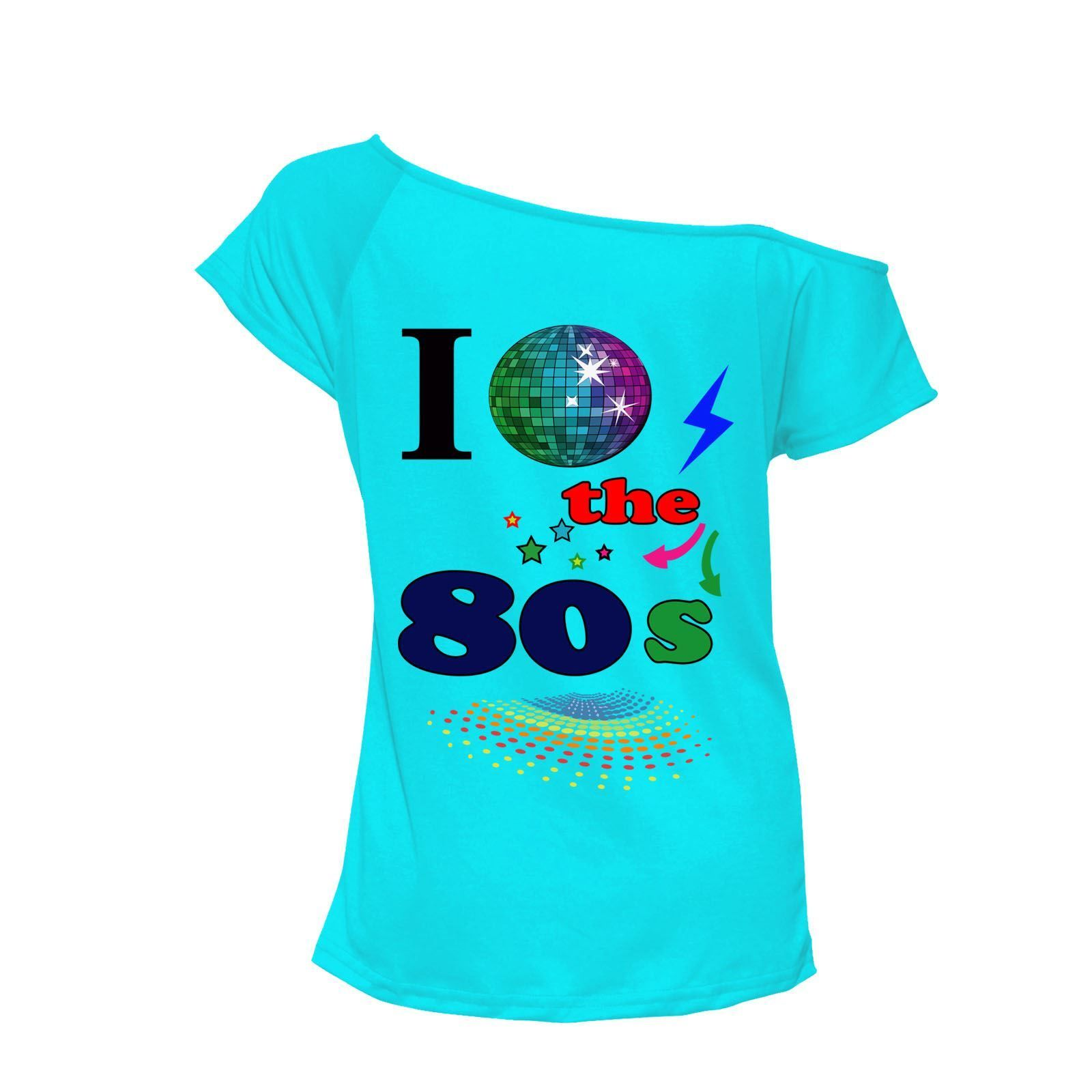 bcd6ff18fae92 I Love The 80s T-shirt Top Off Shoulder Womens Ladies Retro Fancy outfit  Lot Top Shoulder shirt