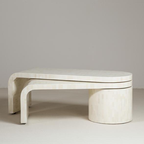 Talisman A Tessellated Bone Waterfall Swivel Extending Coffee Table Industrial Design Furniture Furniture Coffee Table