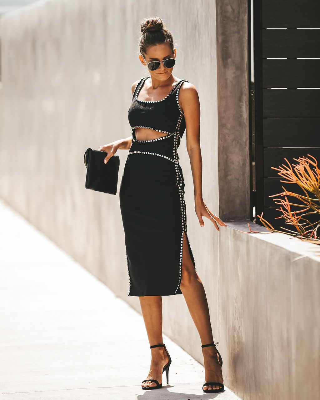 Curb appeal studded cut out bodycon midi dress