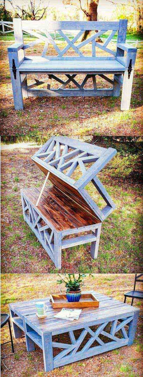 Photo of Outdoor Convertible Coffee Table and Bench