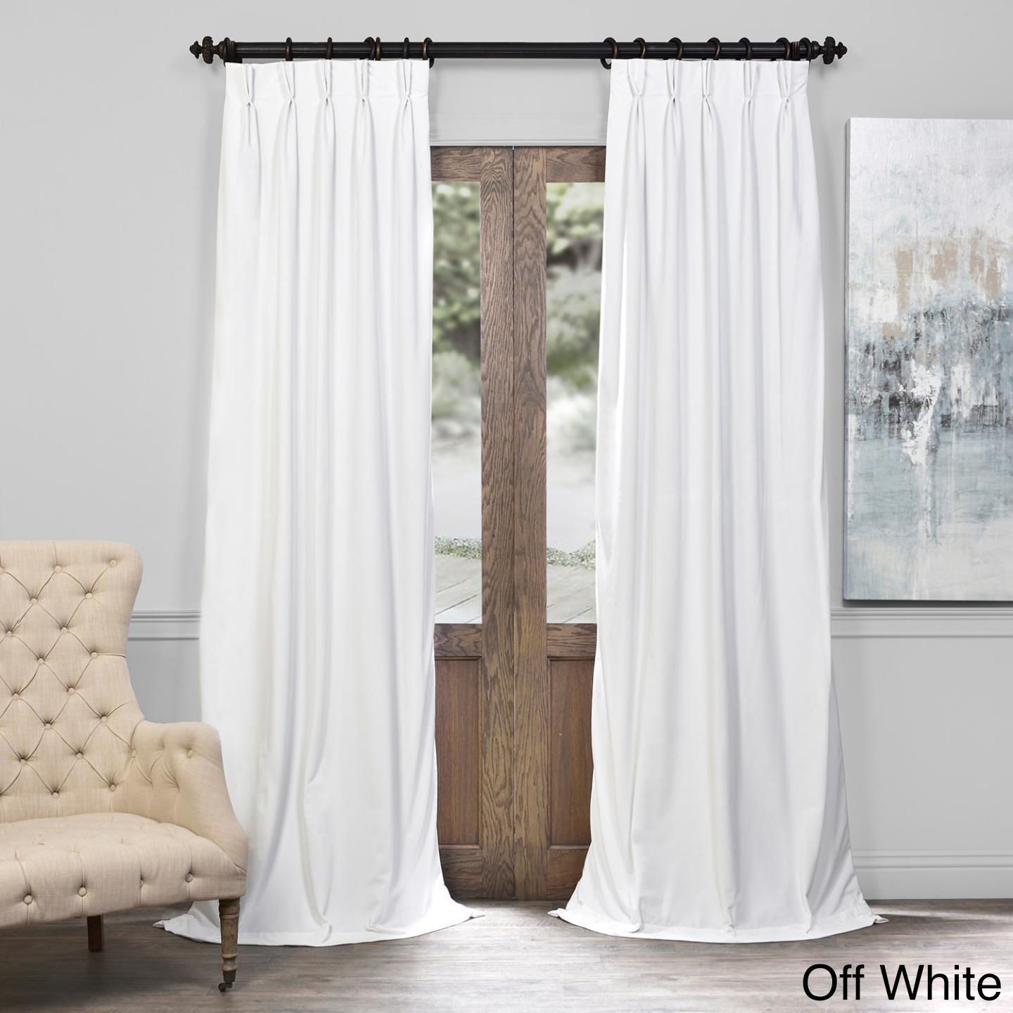 pinch white fabrics exclusive pleated panel pin curtain off velvet signature blackout panels solid