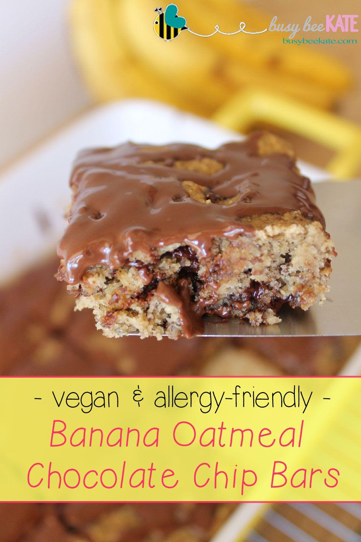 Busy Bee Kate | Vegan & Allergy-Friendly Banana Oatmeal Chocolate Chip Bars