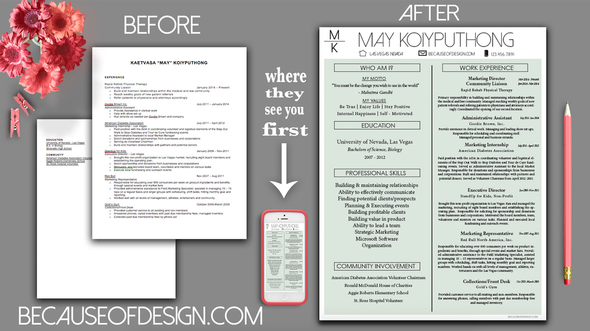 Custom Before & After Single Page Resume designed by Becauseofdesign ...