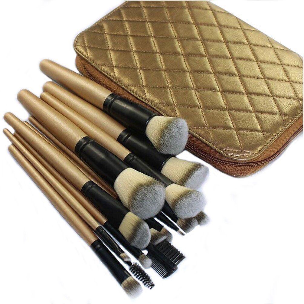DE'LANCI Professional 15Pcs Make Up Brushes Synthetic