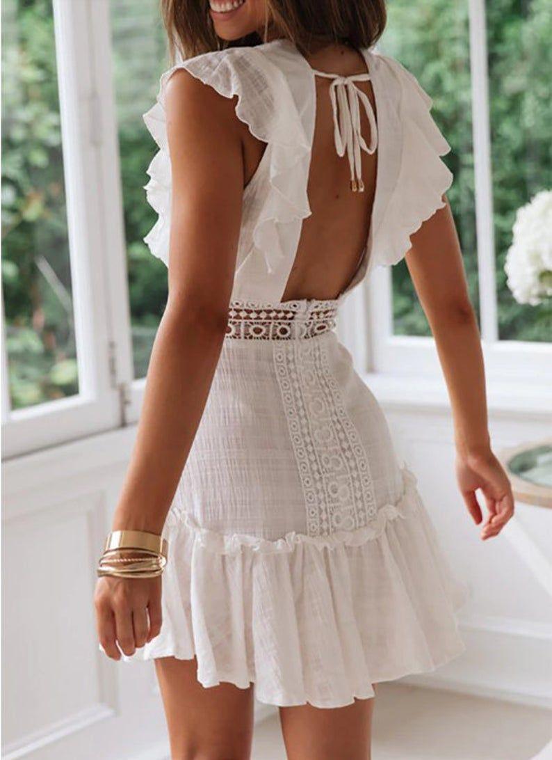 Robe Dete En Dentelle Boho Blanche 2021 Etsy Lace Summer Dresses Cute White Dress White Dresses Graduation [ 1092 x 794 Pixel ]