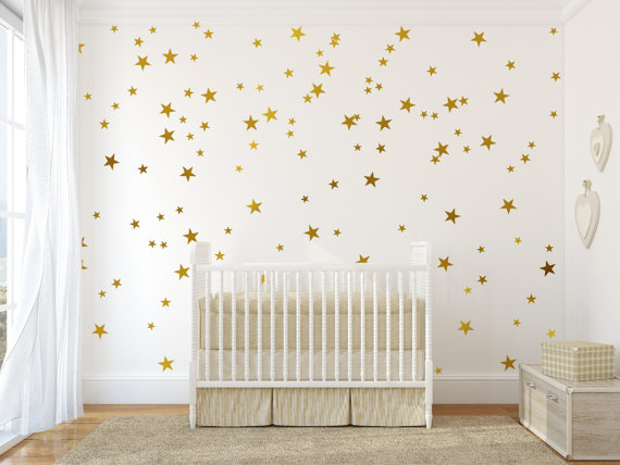 Gold vinyl wall decal sticker wall art stars gold star decal set for baby nursery wall gold confetti stars