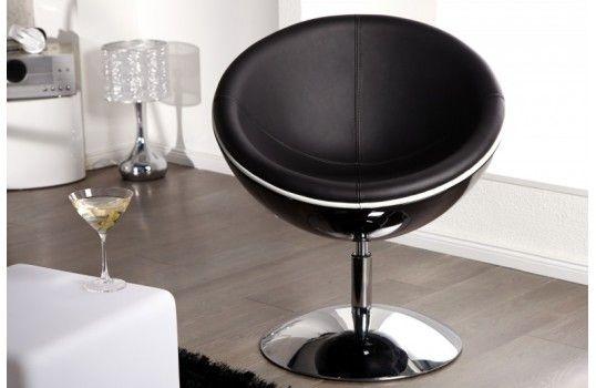 Chaise NikitaFauteuils boule chrome design noire nP0Okw