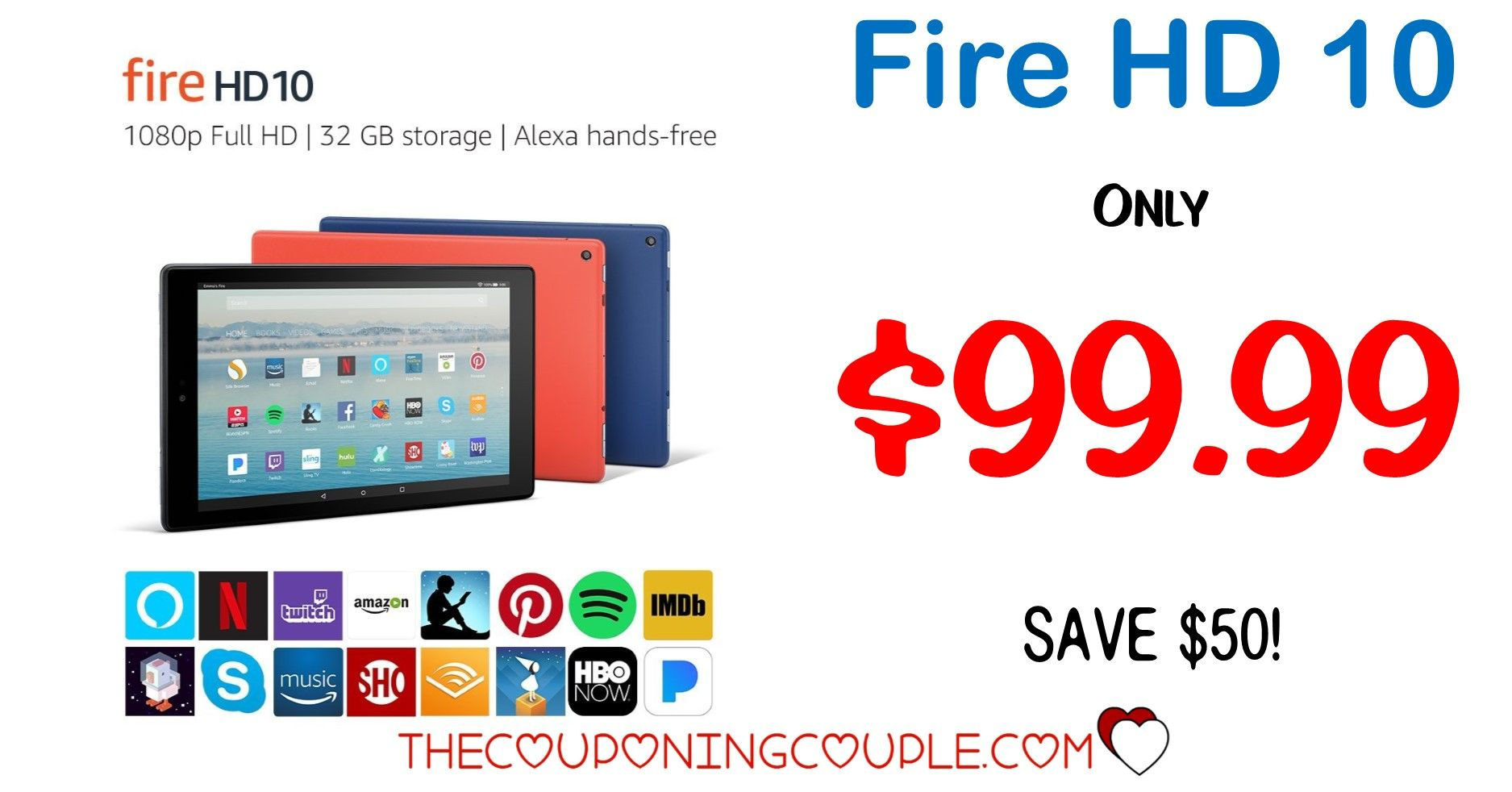 Hot price fire hd 10 tablet only 9999 save 50