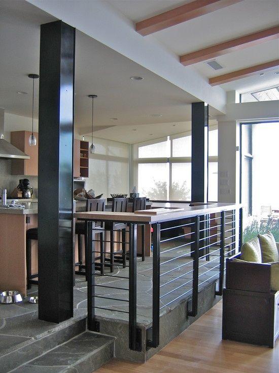 Image result for cable railing divide sunken living room and kitchen