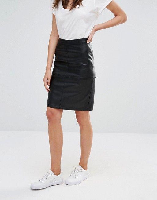 ff027e92c3 Vila Faux Leather Pencil Skirt