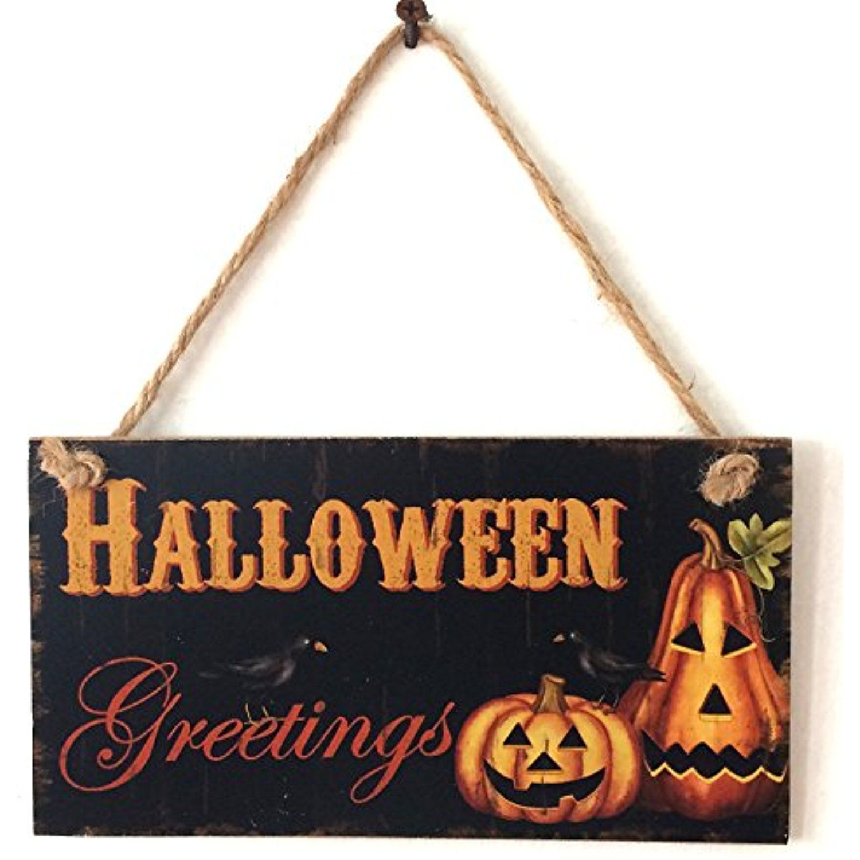 Zehui Pumpkin Lantern Wooden Door Plaque Hanging Sign Halloween Wall - door decoration halloween