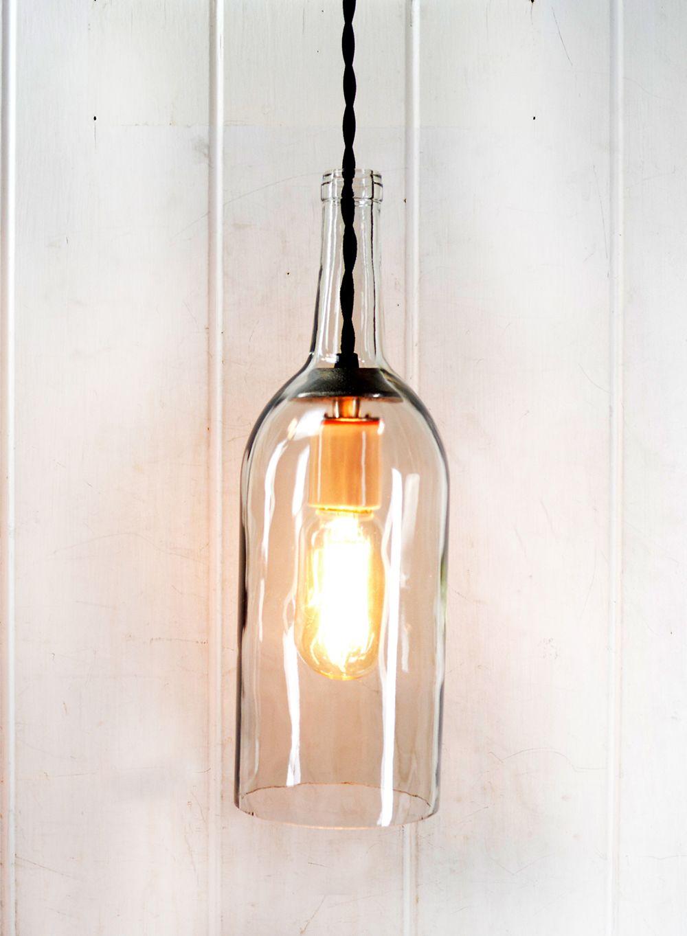 Clear wine bottle pendant light with nostalgic vintagestyle bulb