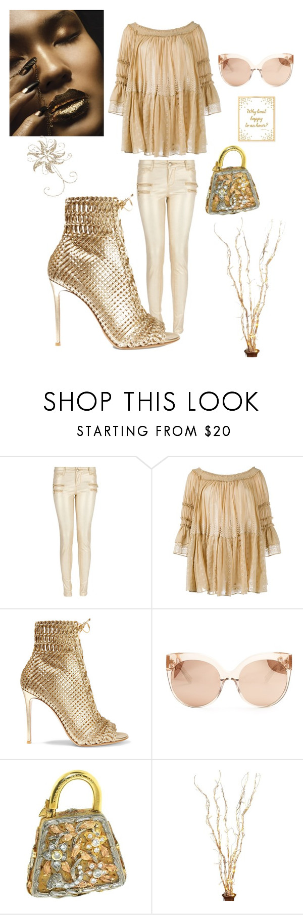 """""""All things GOLD"""" by kotnourka ❤ liked on Polyvore featuring Morgan, Chloé, Gianvito Rossi and Linda Farrow"""