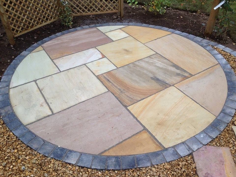 Ethan Masonu0027s Paving Fossil Natural Stone Circular Patio Area. #ethanmason  #ethanmasonpaving #naturalstone