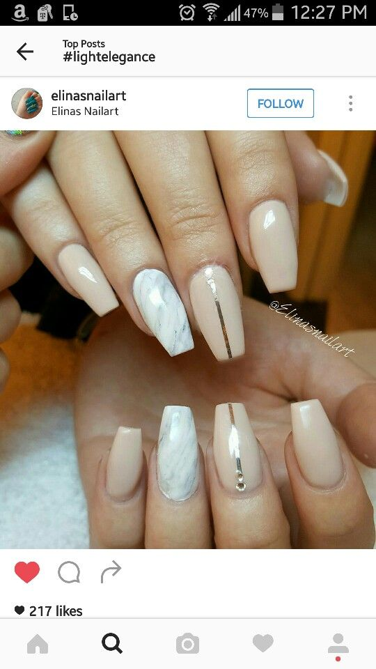Nude and marble nails | Nail Ideas | Pinterest | Marble nails ...