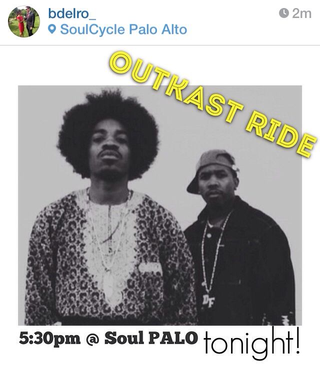 OUTKAST RIDE TONIGHT 10/15/14 at SOULCYCLE PALO ALTO #soulcycle #palo #paloalto #bayarea #outkast 5:30pm !!!