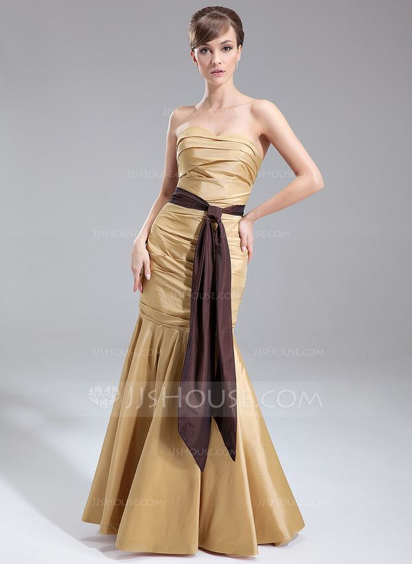 Trumpet/Mermaid Sweetheart Floor-Length Taffeta Bridesmaid Dress With Ruffle Sash (007000877)