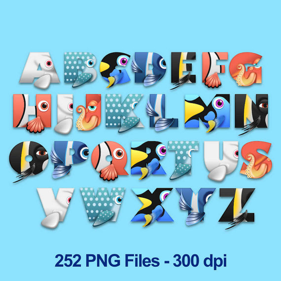 Finding Dory Finding Nemo Alphabet Clipart 252 Png Files 300