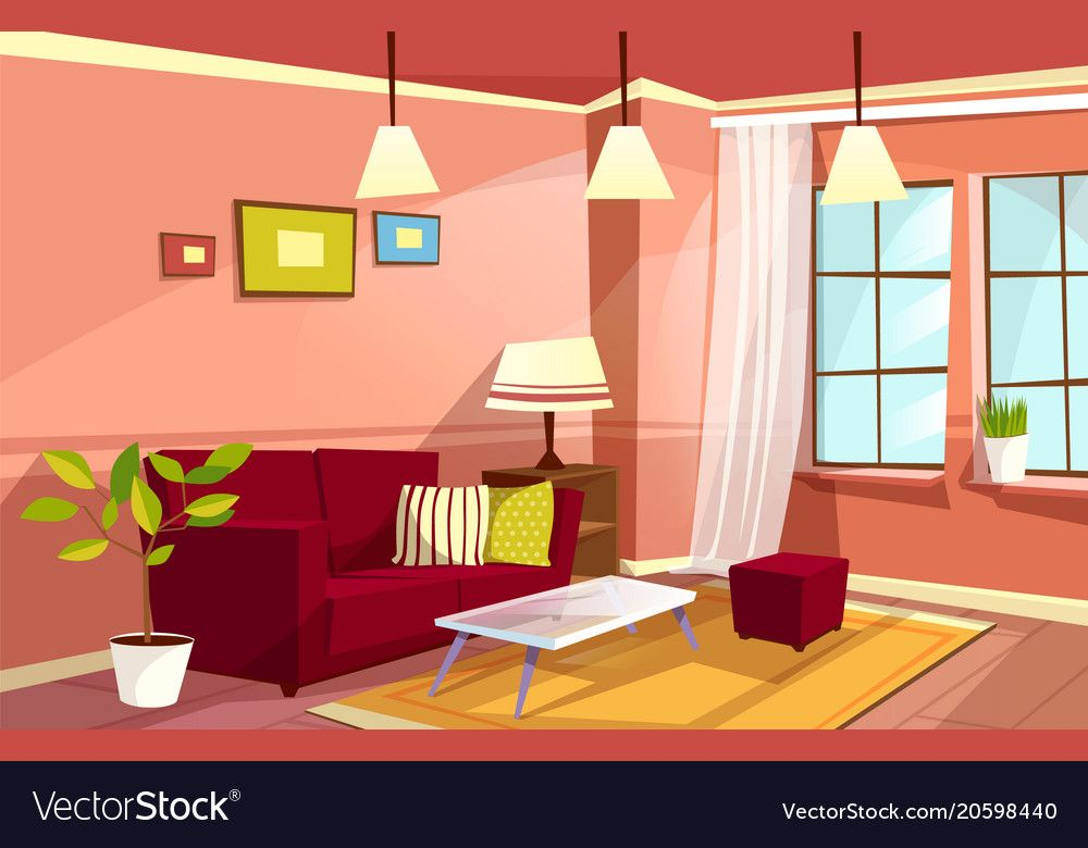 Vector Cartoon Living Room Interior Background Template Cozy House Apartment Concept Illustrati Living Room Clipart Living Room Vector Living Room Background