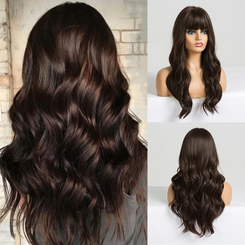 Photo of EASIHAIR Long Black Synthetic Wigs for Women Middle Part Wigs Natural Hair Wavy Wig Cosplay Heat Resistant Black Hair Wig – LC226-2 / France