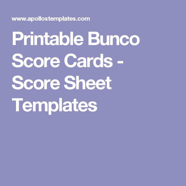 Printable Bunco Score Cards - Score Sheet Templates | Craft Exchange ...