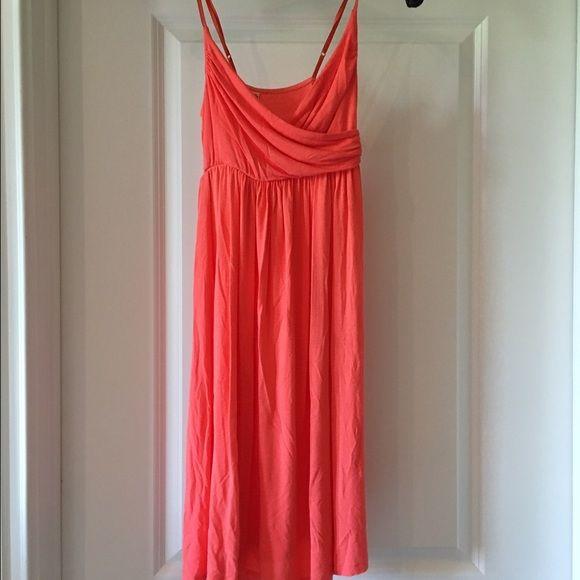Coral sundress Super soft and flattering coral sundress!  Cross-cross front... Longer length Dresses Mini