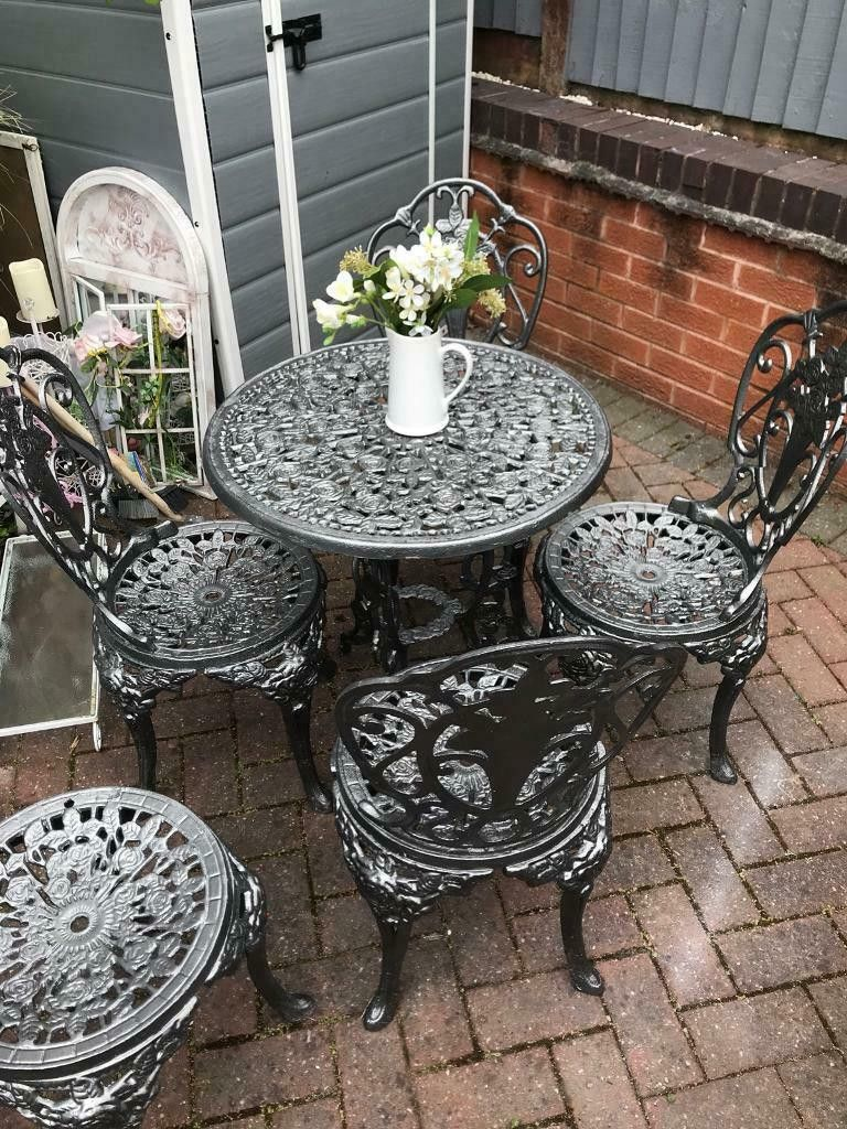 cast iron garden table and chairs on 6 small outdoor table and chair set balloondir small outdoor table outdoor tables and chairs small outdoor chairs pinterest