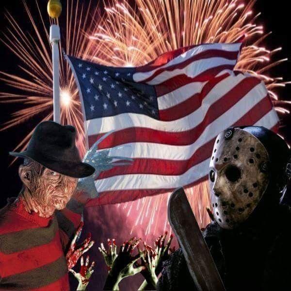 Freddy & Jason 4th Of July 👹 🇺🇸 | Horror movie art, Horror art ...