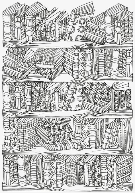 Bookshelf Doodle Coloring  KidsPressMagazine com is part of Coloring pages - Do you love a good book  You read a lot  If you do, then enjoy yourself while coloring this amazing, vintage Bookshelf Doodle Coloring Page