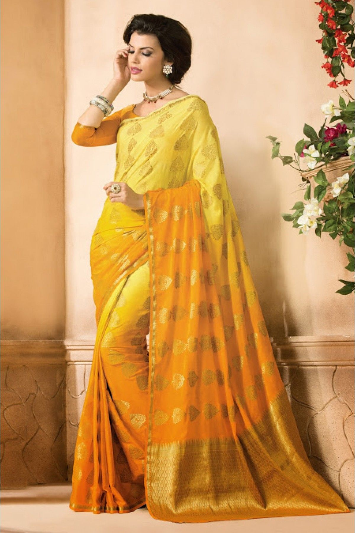 e24e0ed2265a15 Buy Crepe Silk Printed and Lace Work Saree in Yellow and Gold Colour for  women @ ninecolours.com. Best Price Guaranteed!