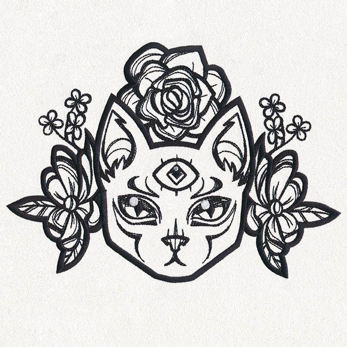 Threeeyed cat embroidery Cat tattoo designs, Third eye