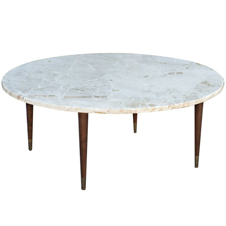 Mid century round marble coffee table marbles mid century and tables Stone coffee table top