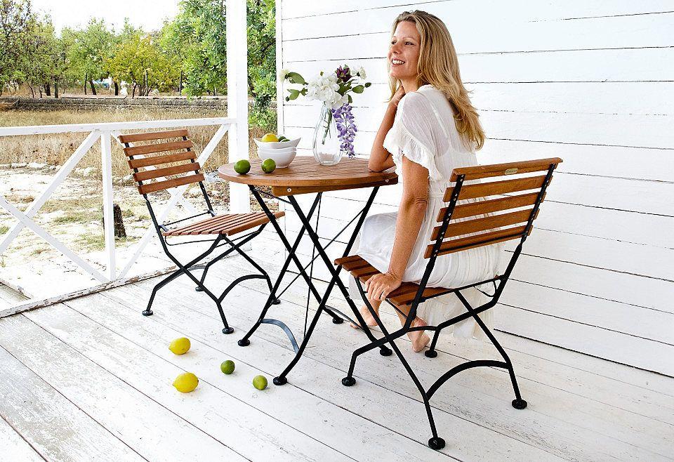 3-tlg. Gartenmöbelset »Schlossgarten«, 2 Stühle, Tisch Ø 70 cm,Stahl ...